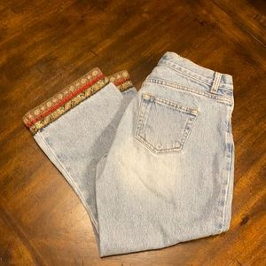 LondonJean button-fly embellished Jean capris